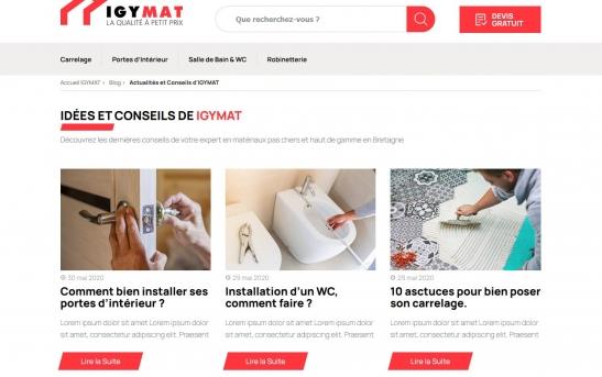 creation site web vente de materiaux quimper