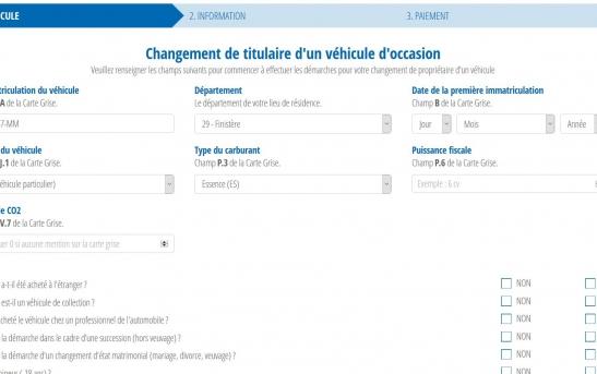 Création d'un site web pour démarches de carte grise en ligne