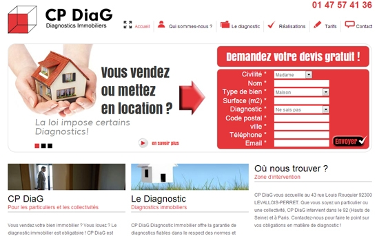 Site internet Diagnostics immobiliers