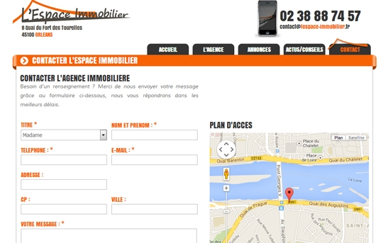 contact agence immobilière site internet