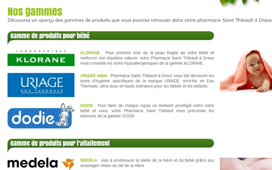 site web pharmacie page gammes