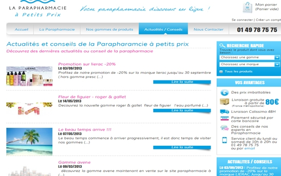 Page Actus conseils promos