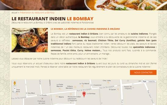 page web présentation site restauration indien
