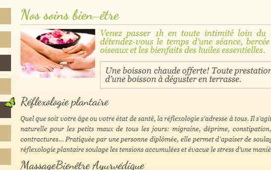 soins beauté sur un site web