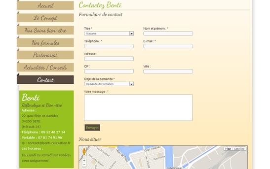 page contact d'un site de relaxation