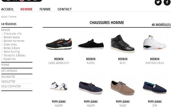 Création site web textile   Site Internet Catalogue Chaussures 0985e2db46fb