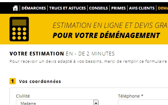 Cr ation site web transport site d m nager pas cher - Estimation volume demenagement en ligne ...