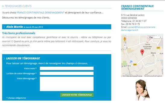 espace témoignages clients sur site