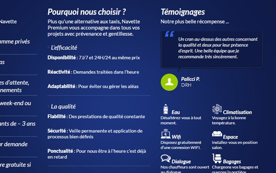 site one page transport de personnes